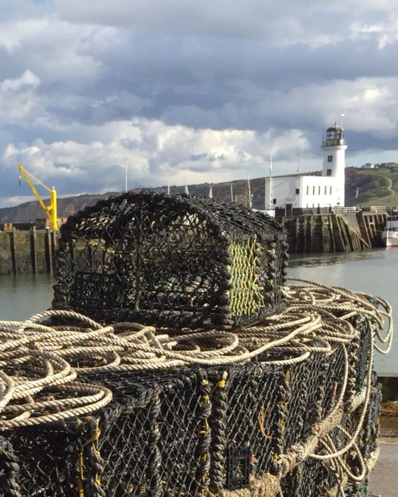 Lobster pots under leaden skies Scenic Landscape Scarborough Yorkshire Coast Coastal_collection Fishing Port Fishing Crab Pots Port Fishing Industry Lobster Pots Sea Leaden Skies Daytrip