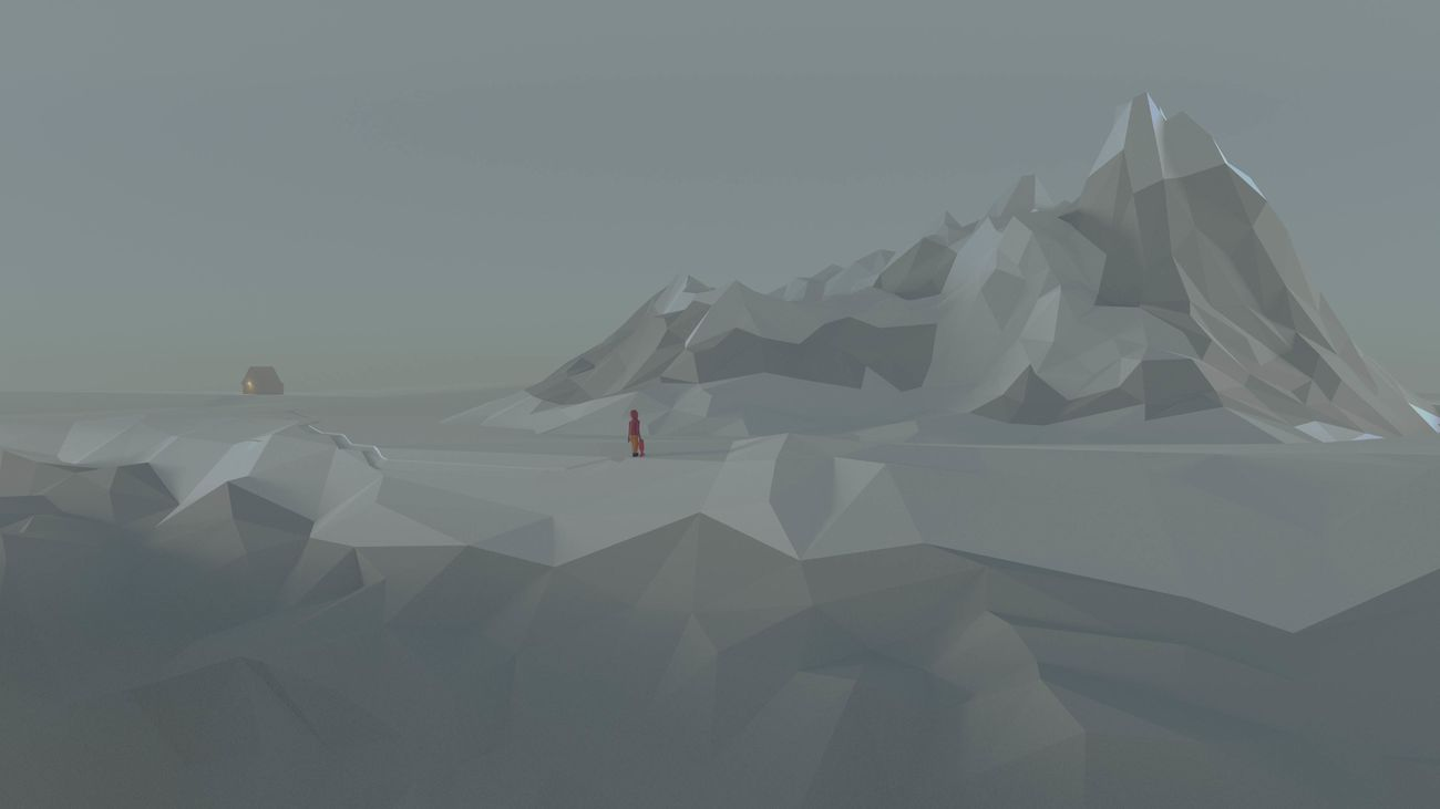 An image I created in blender 3d for fun. Enjoy :) Blender Blender3d Fog Low Poly Mountain Rock Sky Snow Snowboard Winter
