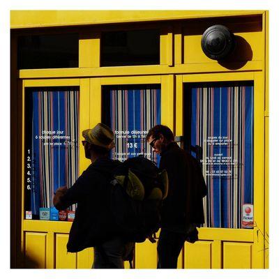 Paint The Town Yellow Two People Men People Fujifilm_xseries Fujinon 60mm streetphoto streetphotography streetphotocolor yellow