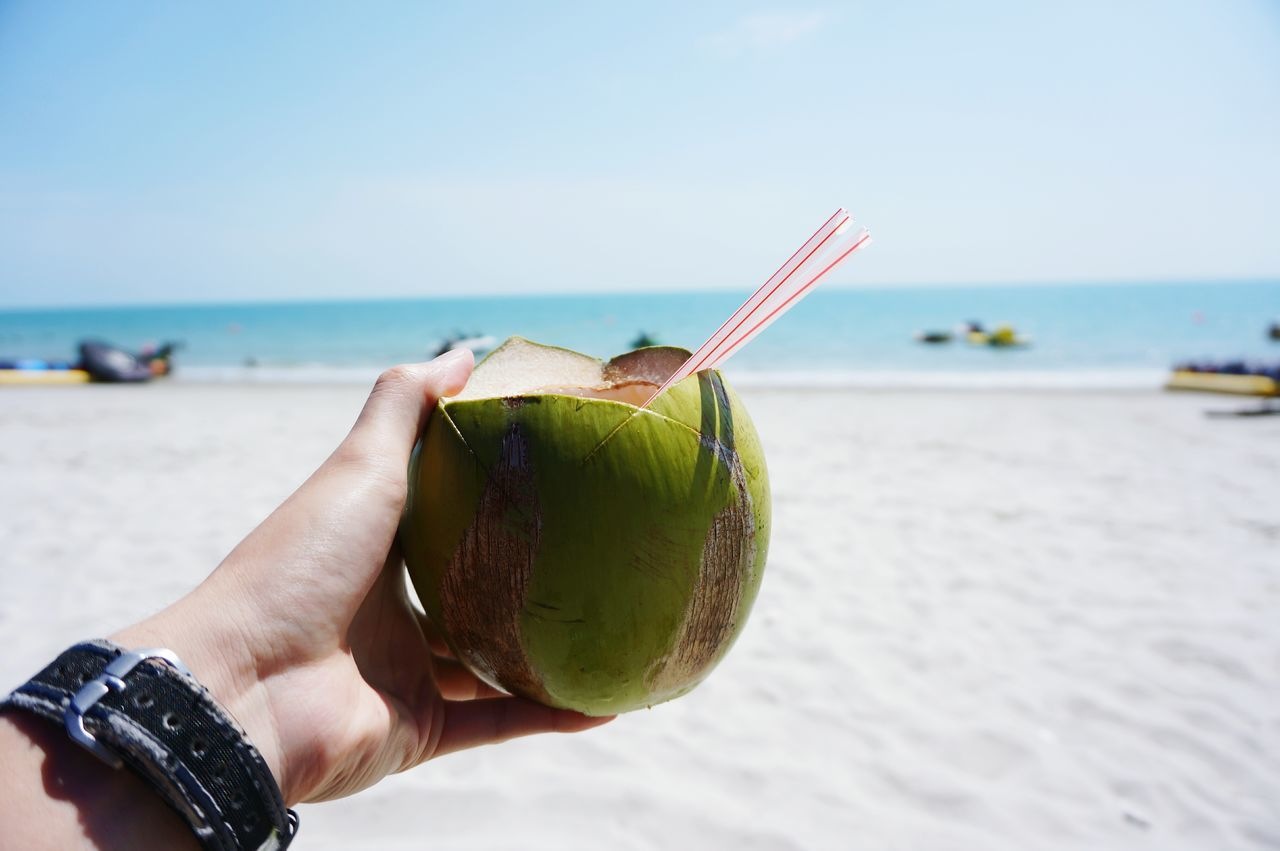 Cropped Hand Holding Coconut At Beach