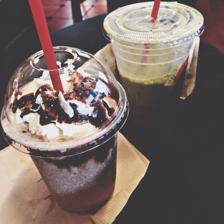 Whipped Cream Green Tea Drinks Iced Chocolate