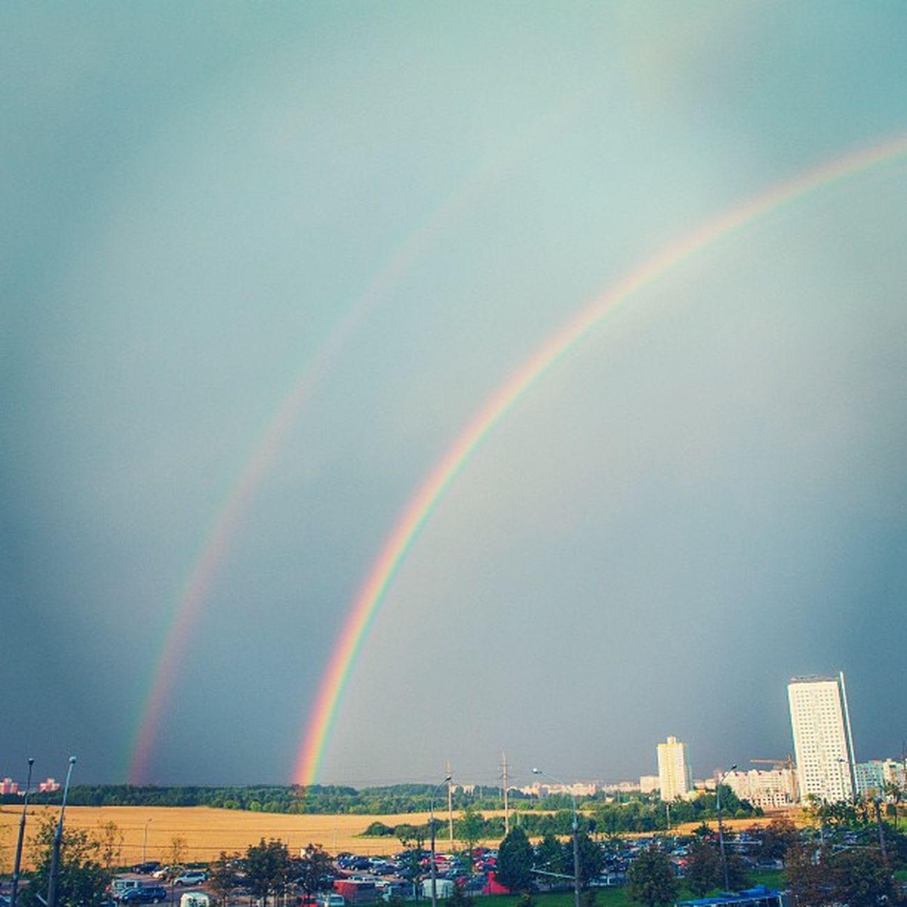 The place where rainbow begins Minsk Cityminsk Minskcitylife Rainbow doublerainbow summer color instacolor landscape urban sky