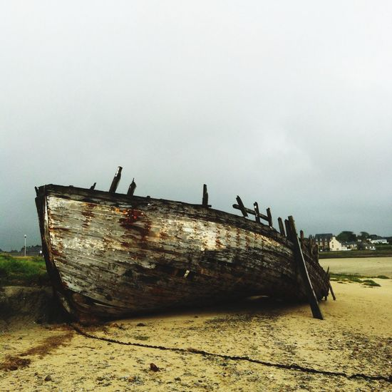 Normandie Cloudy Day Old Boat Sad Story