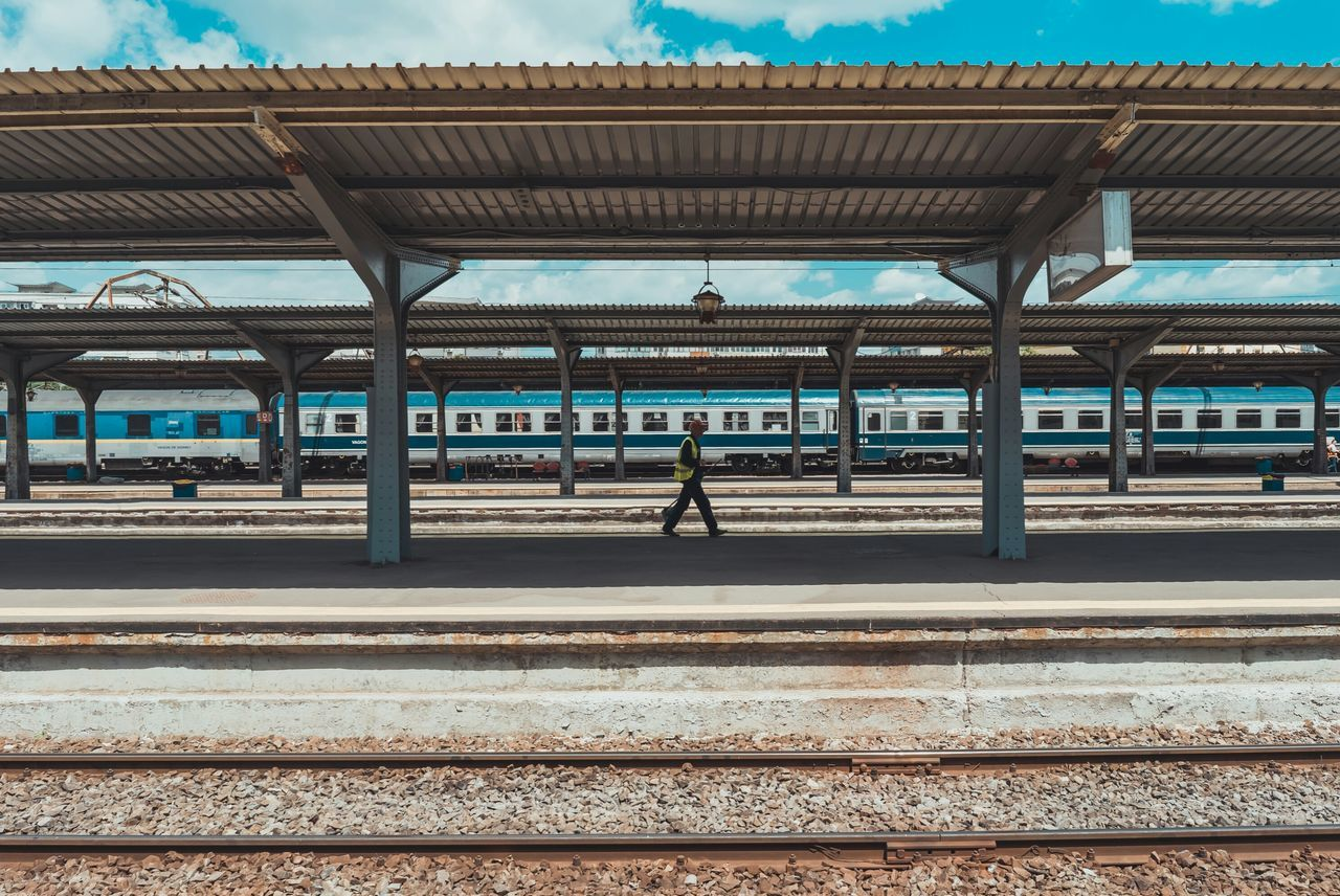 Railroad Station Railroad Station Platform Rail Transportation Transportation Public Transportation Railroad Track Train - Vehicle Outdoors Architecture Built Structure Station Real People People The Street Photographer - 2017 EyeEm Awards Neighborhood Map The Architect - 2017 EyeEm Awards Symmetry Urban Urban Geometry Let's Go. Together.