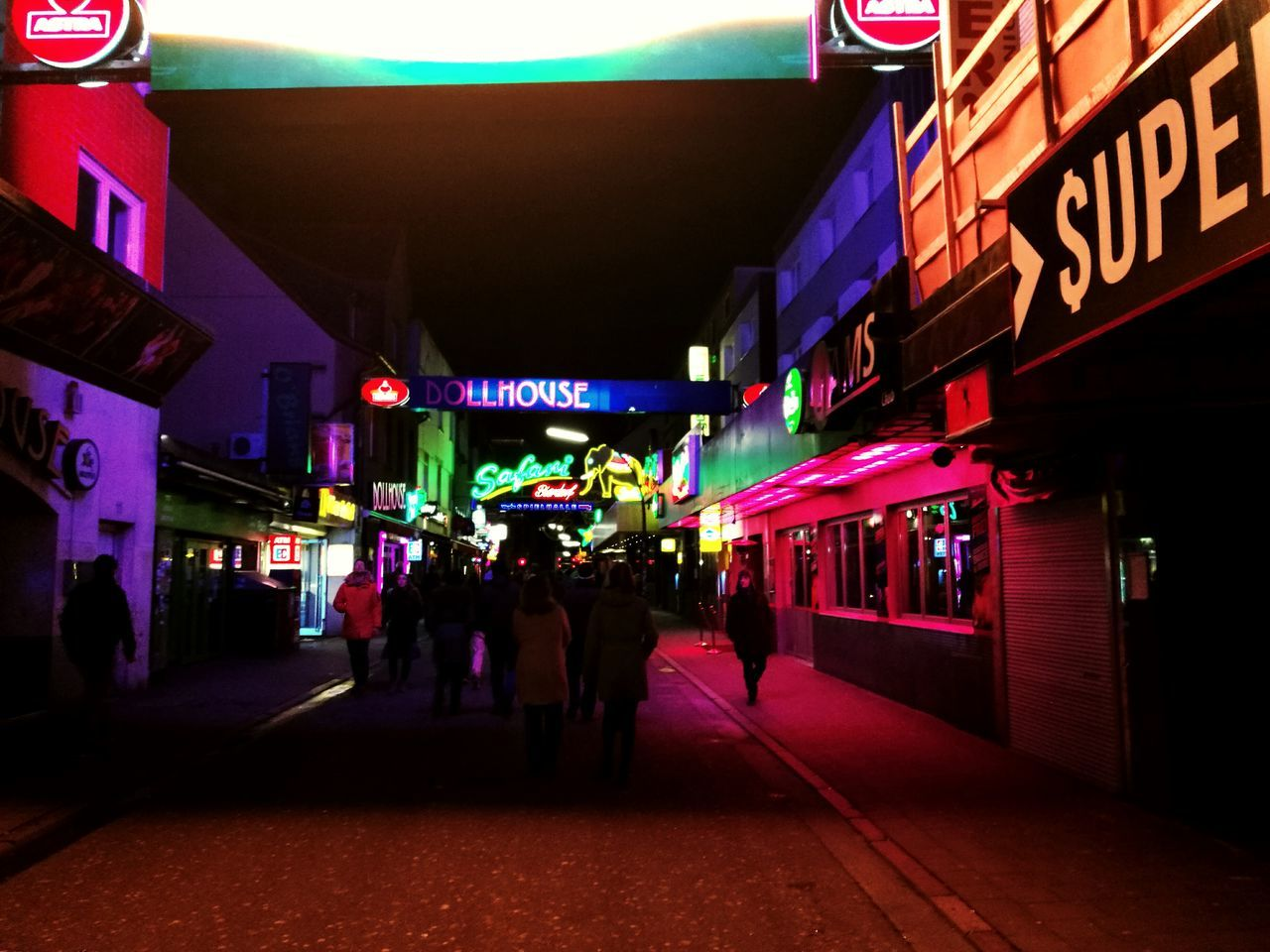 Night Architecture City City Life Adult Nightlife Neon Colored Hamburg Reeperbahn