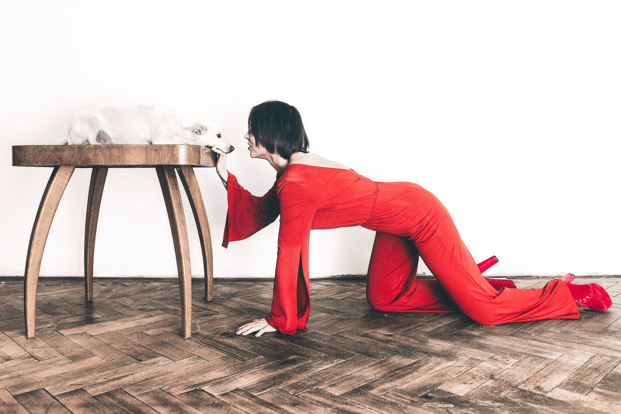 Adult Adults Only Conceptual Czech Model Day Eeyem Photography EyeEm Best Shots EyeEm Gallery Fashion High Heels Model Modeling Old Table One Person One Woman Only Only Women People Red Red Dress Retro Retro Styled White Dog Women Women Around The World
