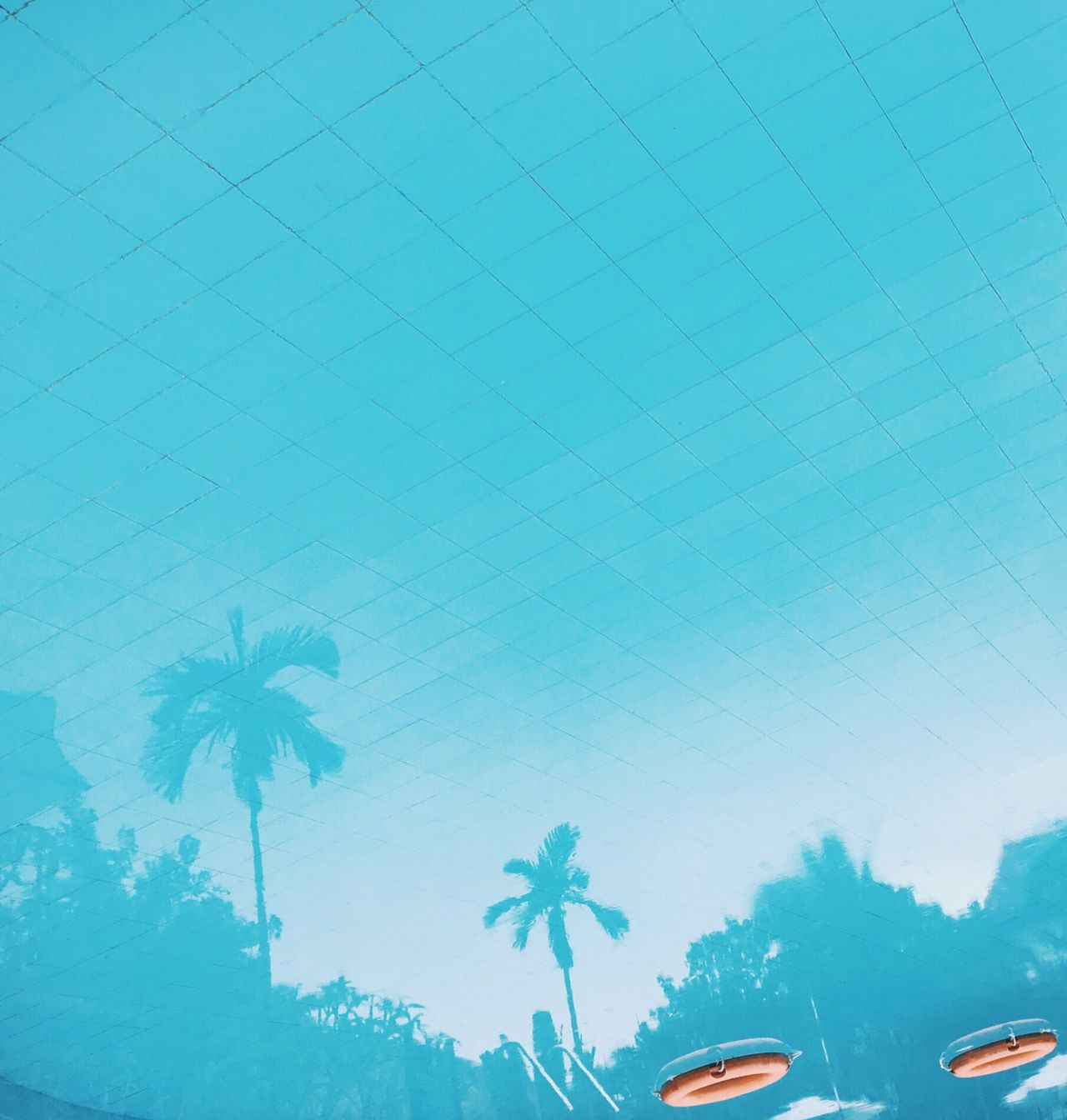 Blue Low Angle View Architecture Built Structure No People Day Outdoors IPhoneography Pool Reflection Light And Shadow Travel Danang Vietnam Palm Tree Calm Upside Down Holiday Resort Vacation