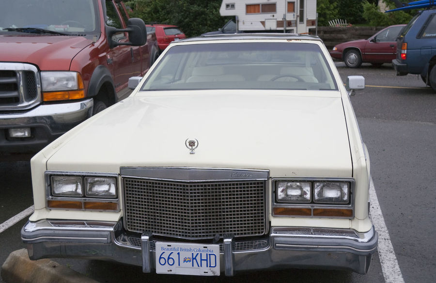 Vintage Cadillac Eldorado Biarritz - American Luxury Car, Model Year 1976 American British Columbia Cadillac Cadillac Eldorado Cadillac Eldorado Biarritz Canada Car Classic Car Classic Cars Close-up Collector's Car Front View General Motors  Gm  Luxury Luxury Car No People Old Oldtimer Outdoors Parking Lot Stationary Transportation Vintage Vintage Cars