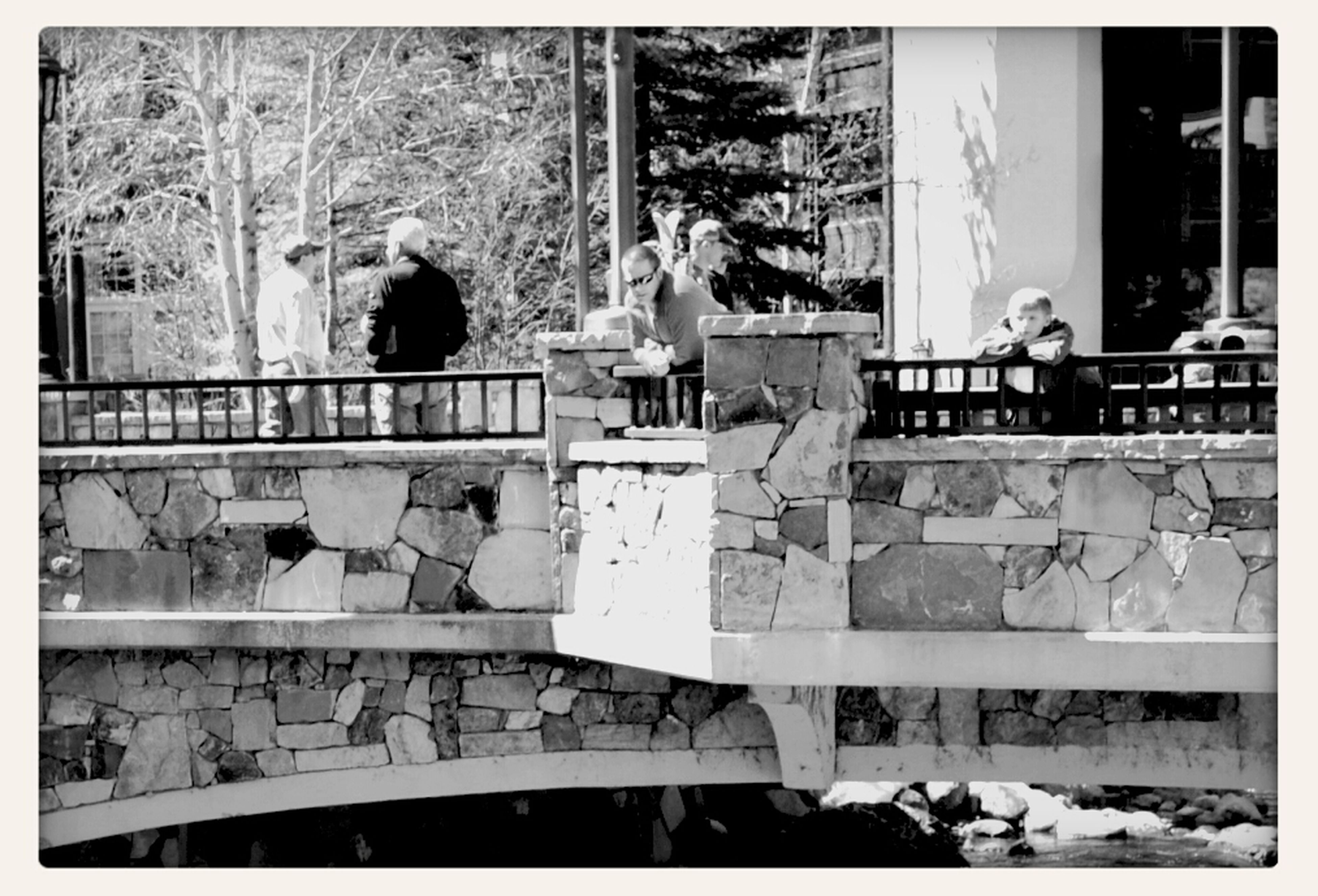 transfer print, built structure, architecture, building exterior, auto post production filter, tree, lifestyles, person, men, leisure activity, outdoors, day, railing, steps, building, bare tree, large group of people, standing, walking