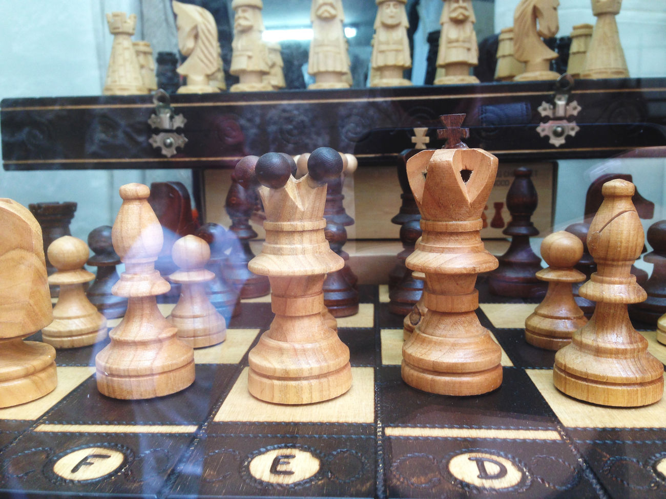 Chess pieces displayed Board Board Game Brain Brain Games Chess Chess Board Chess Piece Choice Collection Decisions Displayed Figurine  Figurines  For Sale Game In A Row Leisure Games Repetition Strategy Tactical Tactics Wooden