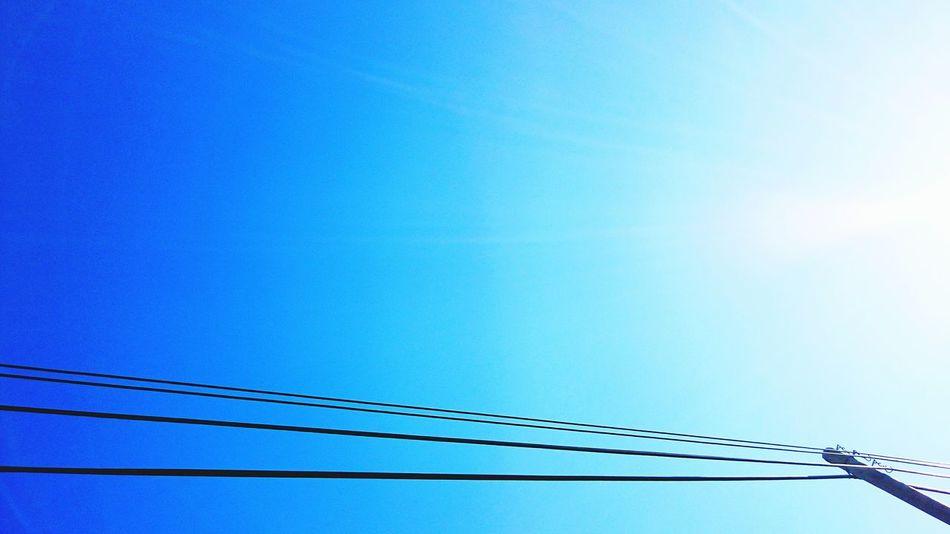 Cables in the sky :) Cable Cables Shadows Sun Sunrise Sunshine Sunshining Sunshine ☀ Minimalist Minimalism Minimal Minimalistic Simple Photography Simplicity Simple Simplicity.  Sky Skyporn Sky_collection Sky_collection Skylovers Blue Sky Sunandsky Showcase: February EyeEm Best Shots