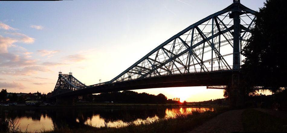 Blaues Wunder Panorama Blaueswunder Dresden Elbe Panorama Bridge Sunset