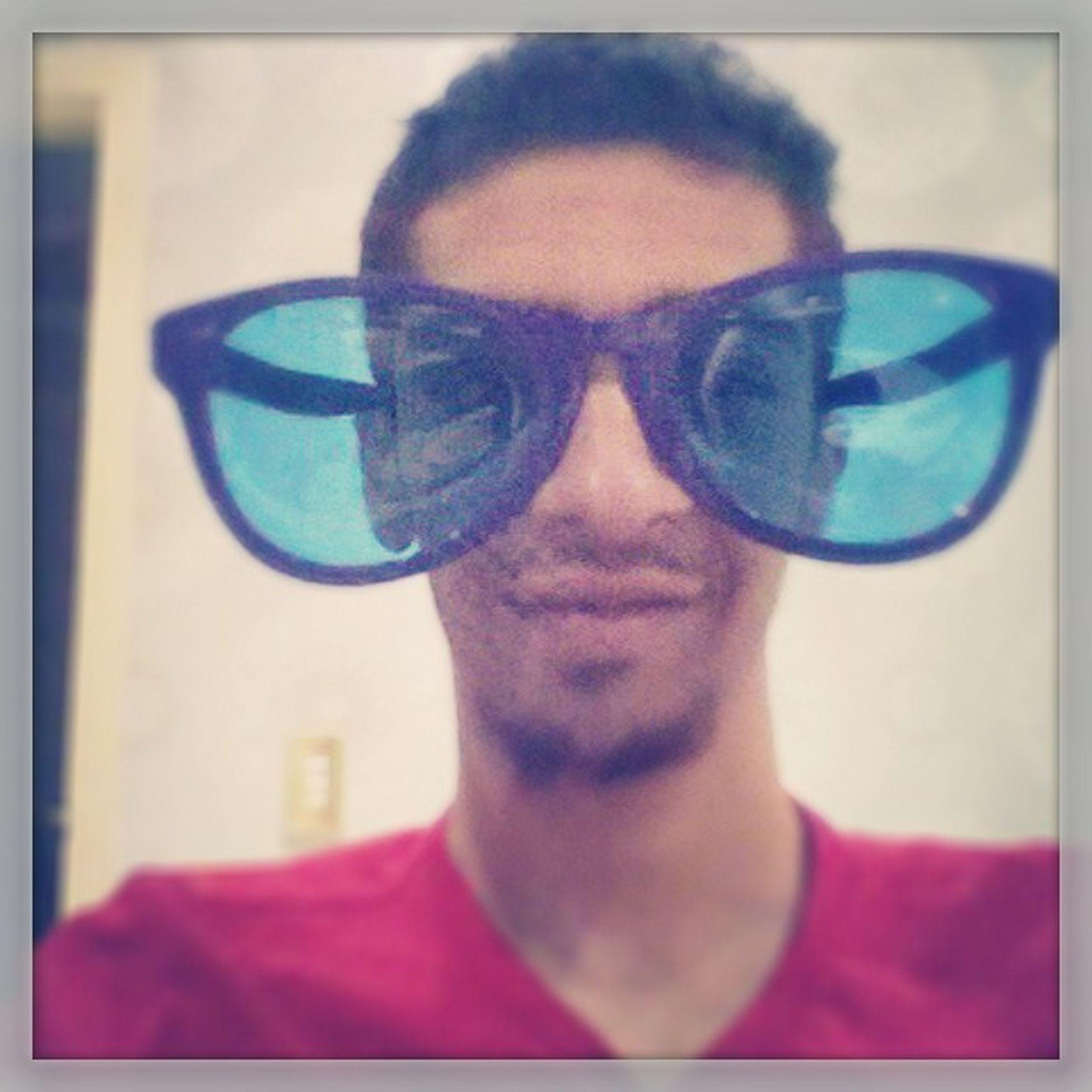 When life seems boring wear big glasses Giantglasses Blueglasses LOL Unbreakable