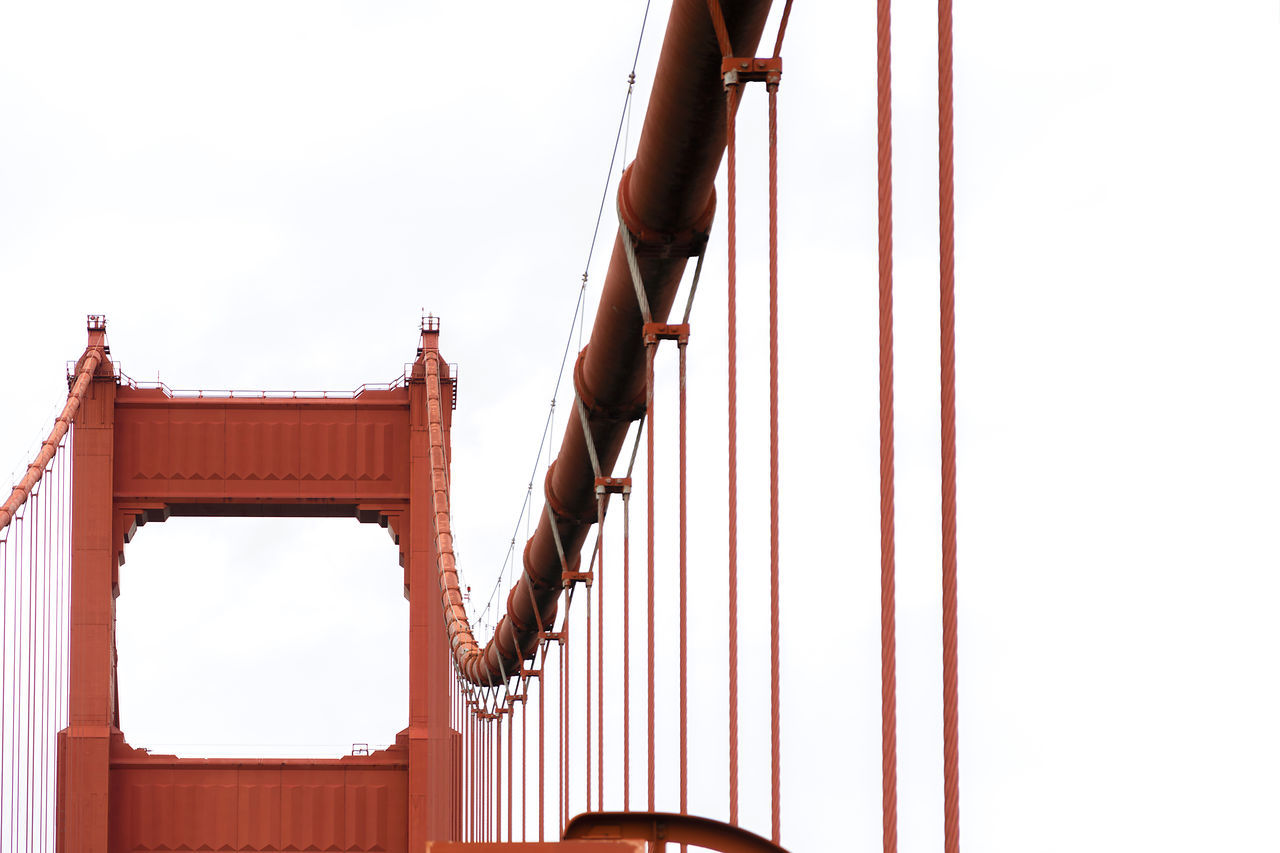 Architecture Architecture Bridge Built Structure Cable Connection Day Detail Golden Gate Bridge Isolated Low Angle View No People Orange Color Outdoors Pillar San Francisco Sky White Background