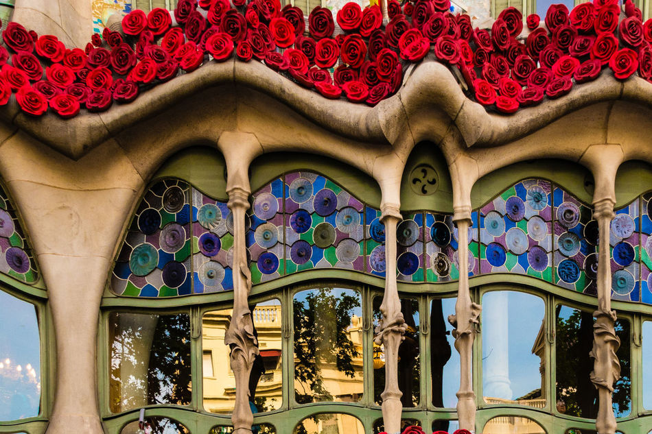 Architecture Barcelona Batllo Hause Batllò Built Structure Catalonia Close-up Colors Day Gaudi Lines Low Angle View Multi Colored No People Outdoors Reflexions Rose - Flower Santjordi SPAIN Traveling Windows