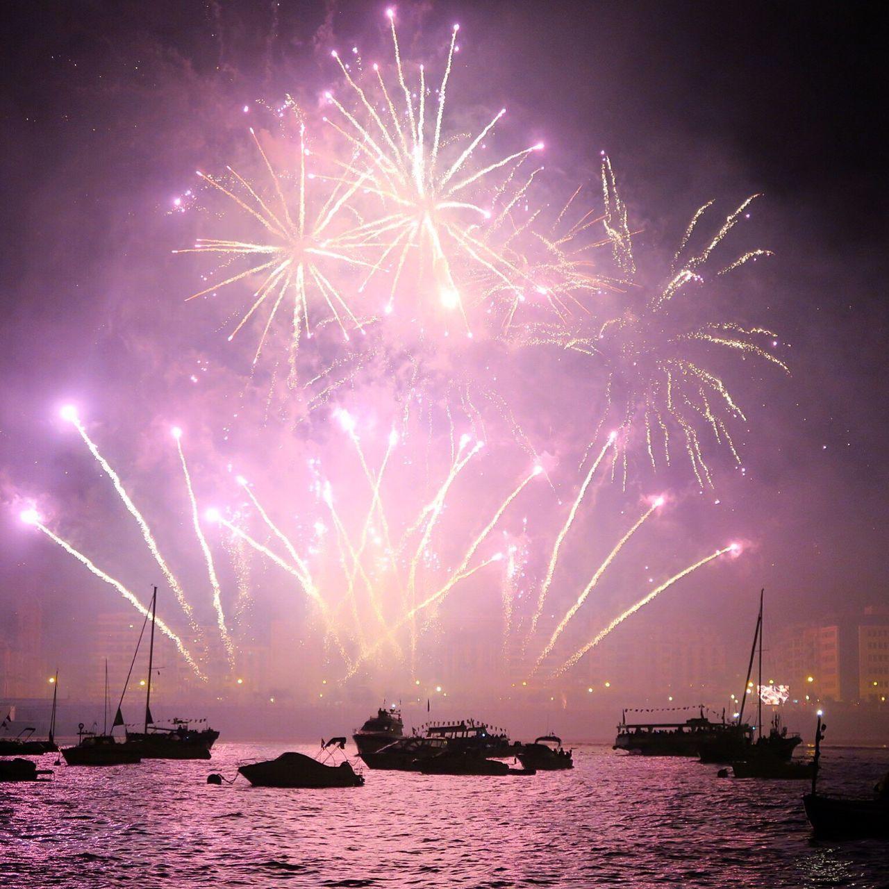 night, celebration, firework display, firework - man made object, nautical vessel, exploding, sky, no people, sea, awe, outdoors, illuminated, scenics, water