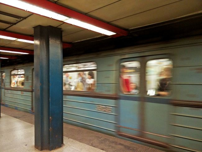 Transportation Architectural Column Railroad Station Platform Architecture Public Transportation Indoors  Tram Budapest Hungary Moving Blurred Motion Motion Colours