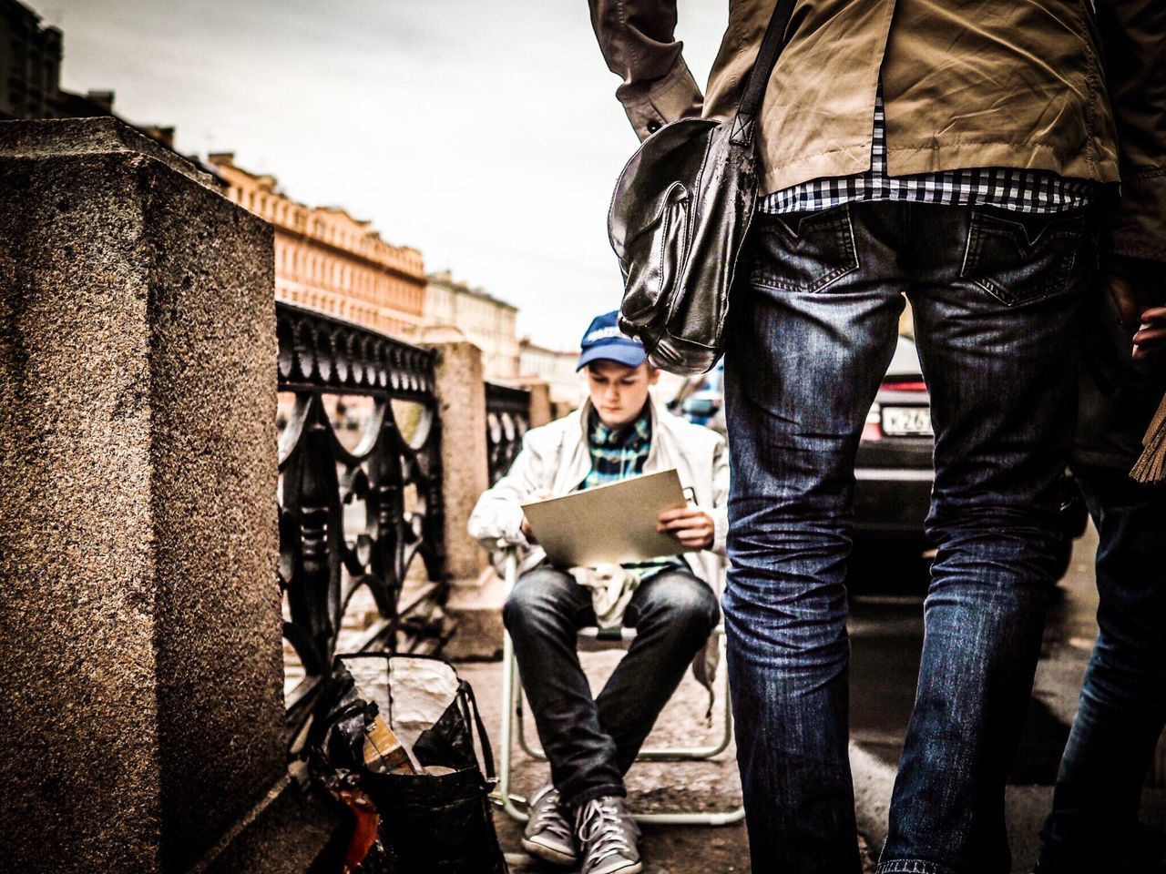 The Street Photographer - 2017 EyeEm Awards Wireless Technology Technology Communication Two People Young Adult Young Men Adult Day Men Outdoors Only Men People Using Laptop Adults Only Olympus Olympus OM-D E-M5 Mk.II Streetphotography Street Photography Scenery Storytelling Russia Saint Petersburg Streetart Artist