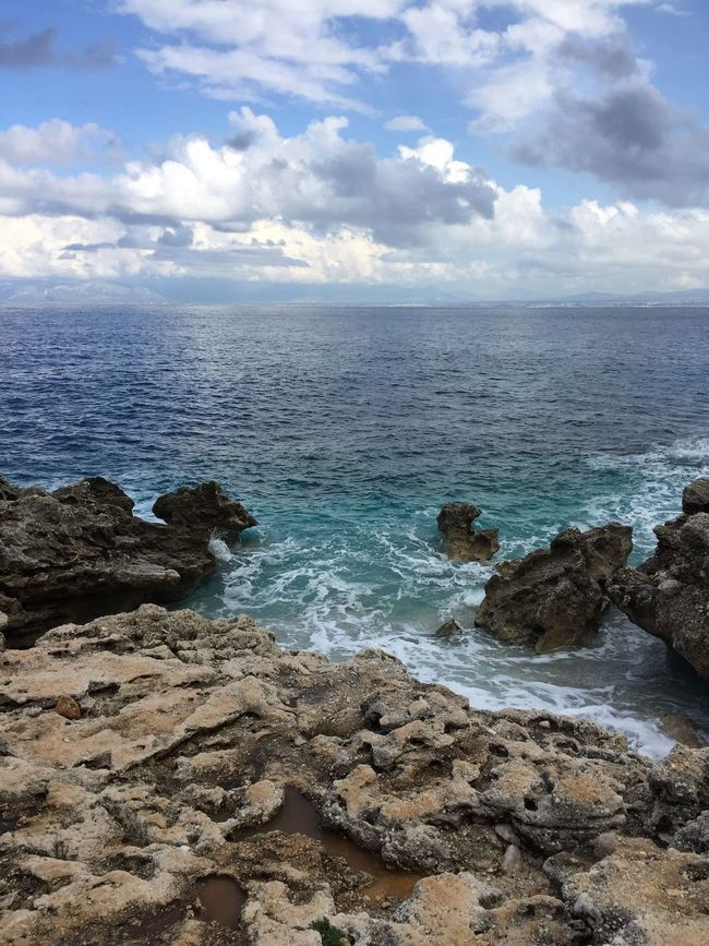 No Filter No People Coastline Coast Coastal Ocean View Sicily Lava Lava Beach Beachphotography Sizilien Sizilia Vacation Blue Sky Blue Waves Sky Clouds Clouds And Sky Cloudscape Water Sea And Sky Seaside Seascape Ocean