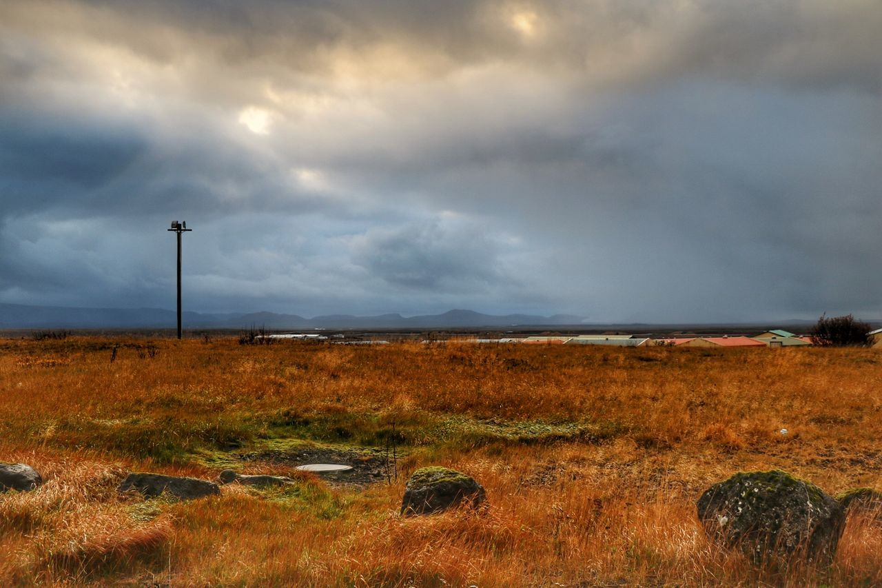 Landscape Tranquil Scene Grass Sky Cloud - Sky Outdoors ásbrú Reykjanes Keflavik Iceland Autumn Colors Morning Light Cloudy Dramatic Sky