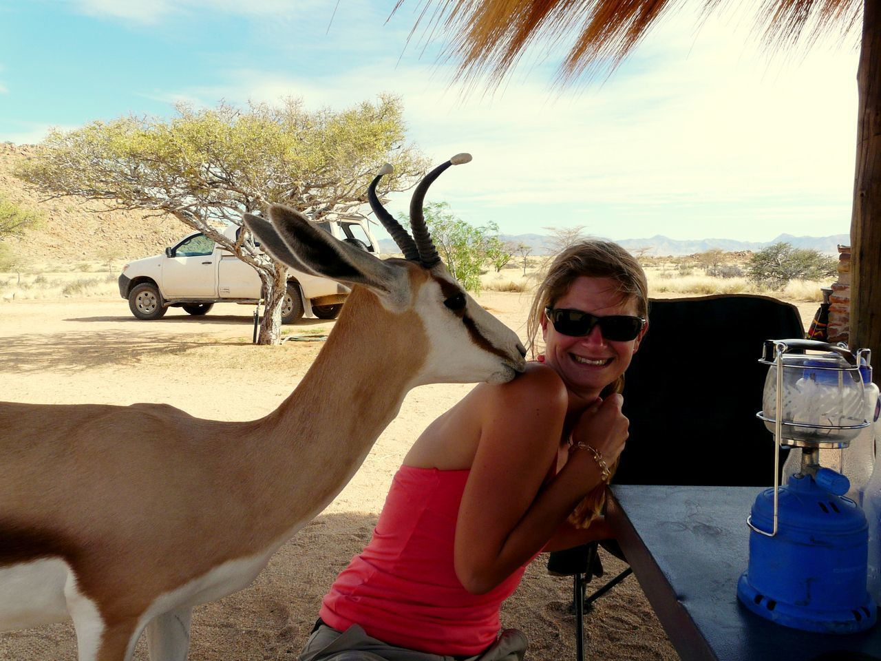 Portrait Of Woman And Antelope