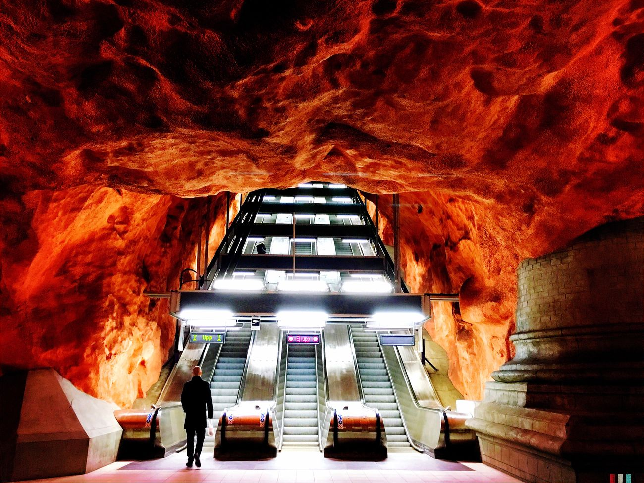 """Visual Witness Eyeem In Stockholm Hipstography ShotoniPhone6s My Own Style Of Beauty Shootermag Architecture Subway Station Vivid Stairs Red Man Public Transportation Finding New Frontiers """"Highway to Hell"""""""