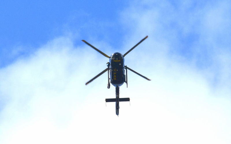 Blue Sky Blue Sky And Clouds Chopper Day Helecopter Low Angle View Nature No People Object Outdoors Police Police Helicopter Sky