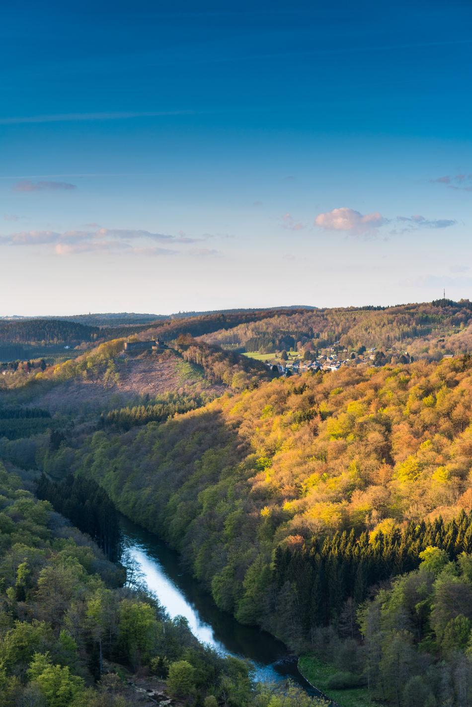 Blue Ardenne Ardennesbelges Castle Forest Landscape Orange Sky Sunset