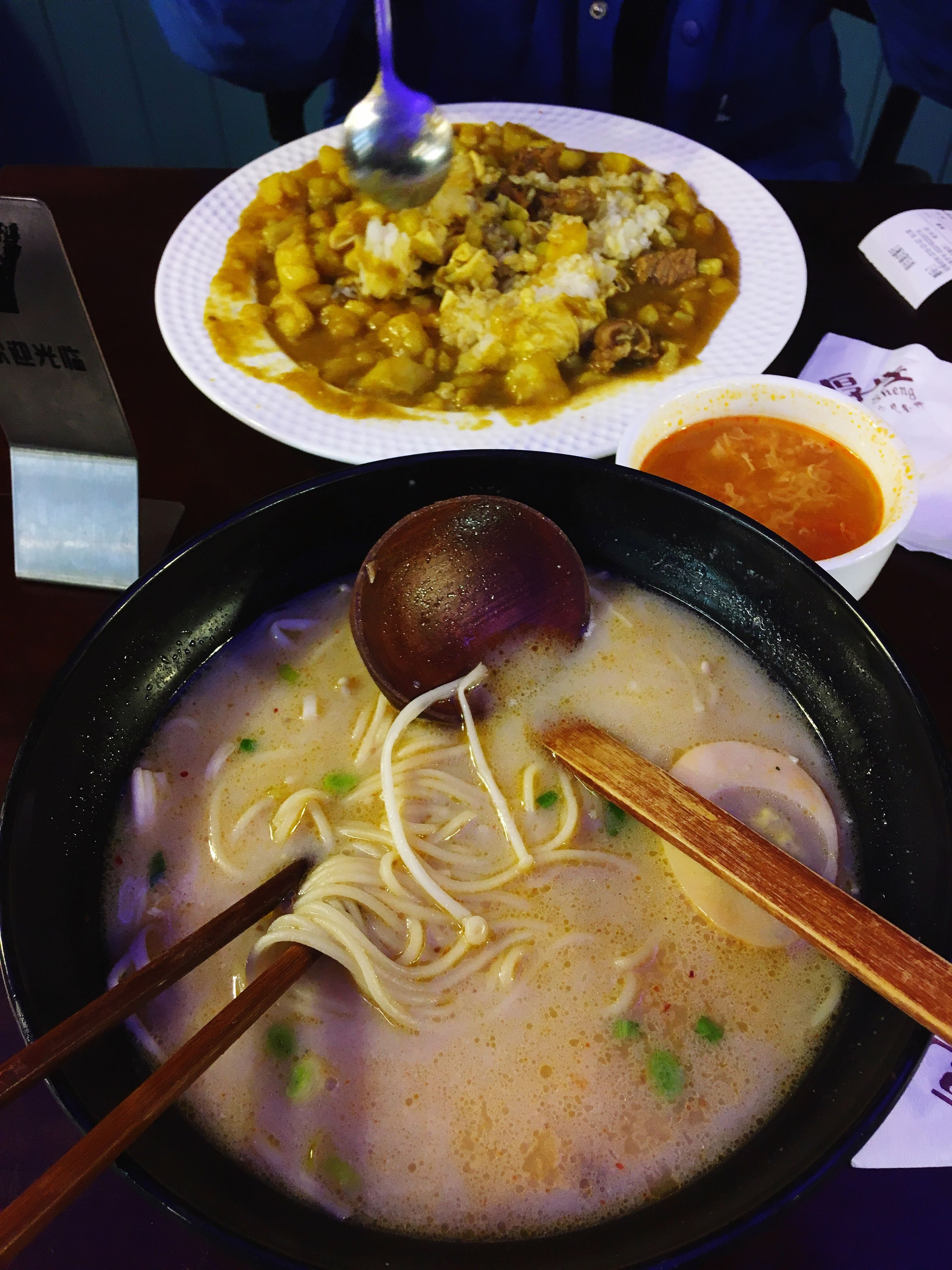 food and drink, food, indoors, freshness, healthy eating, ready-to-eat, bowl, soup, high angle view, meal, close-up, still life, spoon, plate, serving size, table, noodles, indulgence, chopsticks, seafood