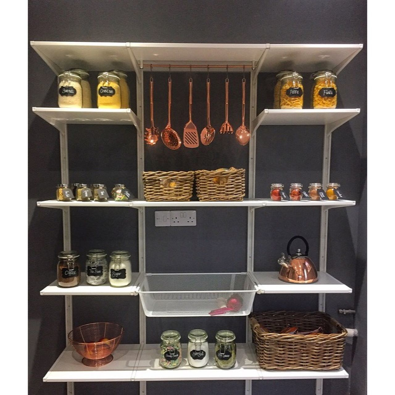 Basket Copper  Food Grey Indoors  Jar Jars  Kicthen Kitchen Kitchen Life Kitchen Utensil Kitchen Utensils Kitchenware Lables Lables And Writings No People Organisation Pantry Pantry Shelves Pantry View Raw Food