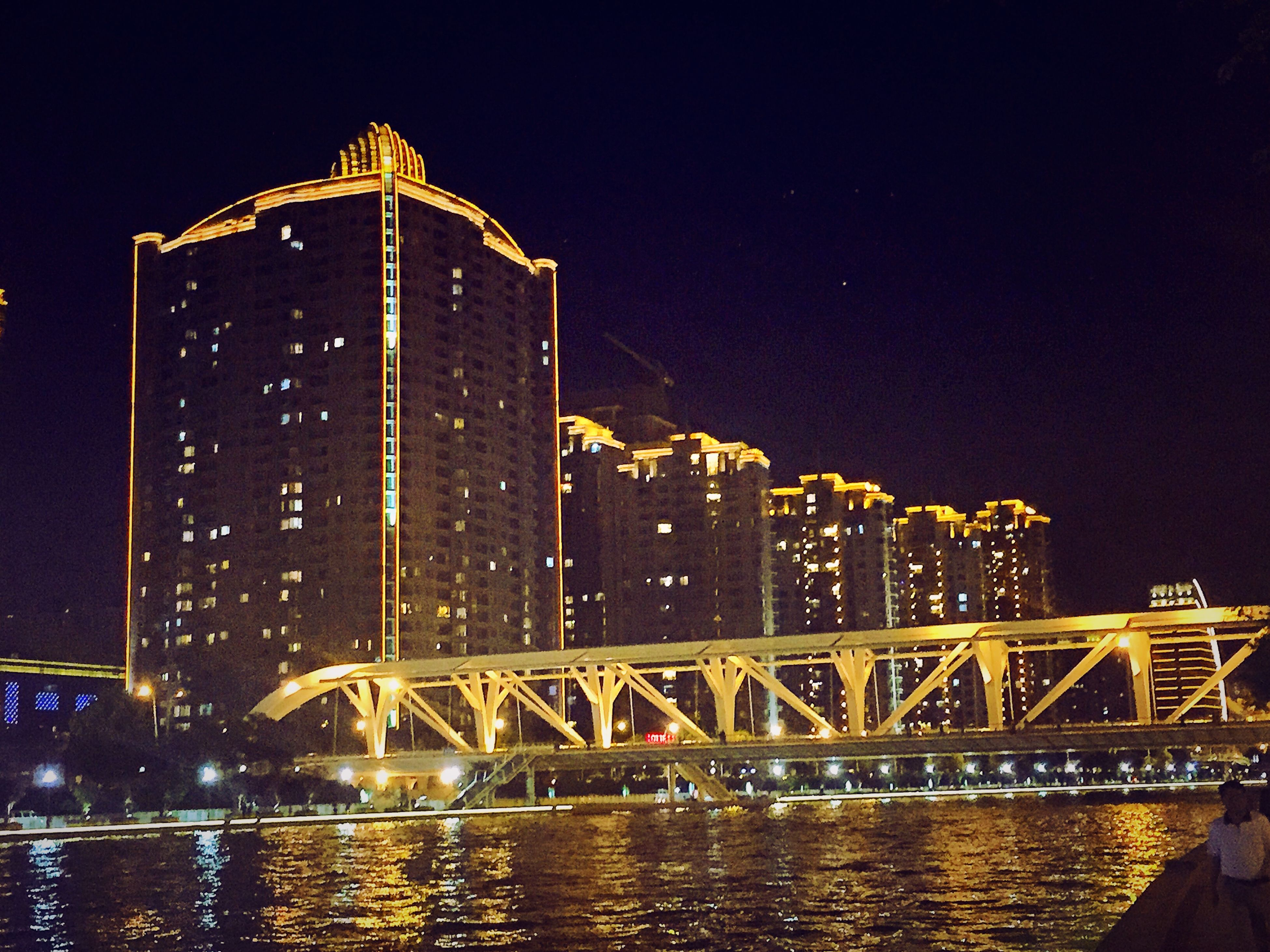 night, illuminated, architecture, built structure, building exterior, water, city, reflection, bridge - man made structure, river, connection, clear sky, waterfront, sky, travel destinations, copy space, capital cities, low angle view, no people, famous place