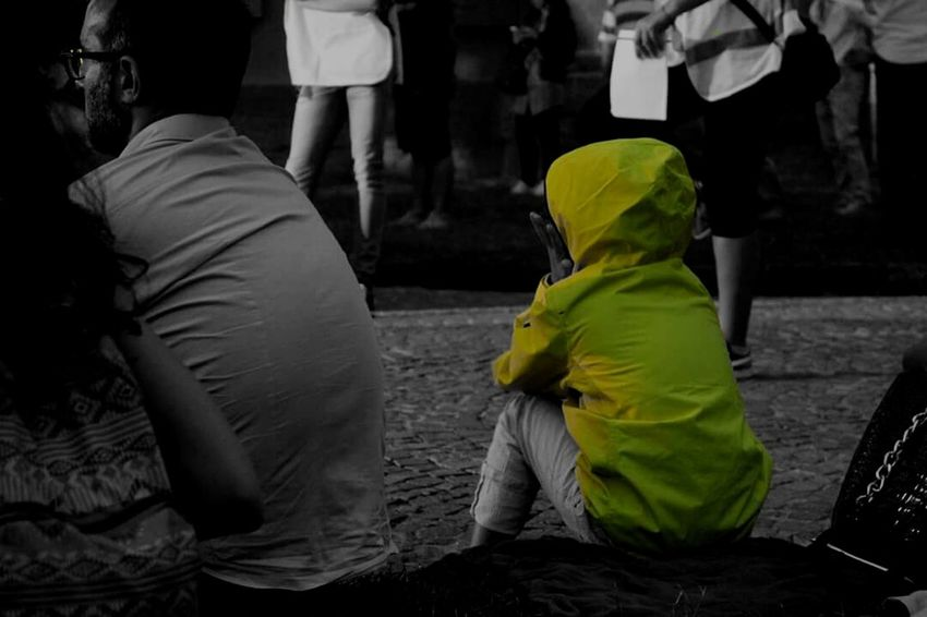 childhood Person Outdoors Childhood Child Yellow Grey Naples Concert Rear View Standing Togetherness Person