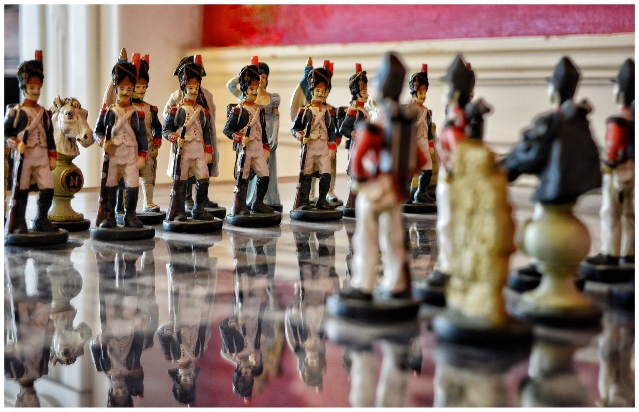Napoleonic Chess Set Waterloo at Plas Newydd on Anglesey in North Wales National Trust Chess Chessboard Chesspieces Soldiers Toy Soldiers EyeEm Eyemphotography Eye4photography  Eyeemphotography EyeEm Gallery Games Board Games Reflection Reflections Reflection_collection