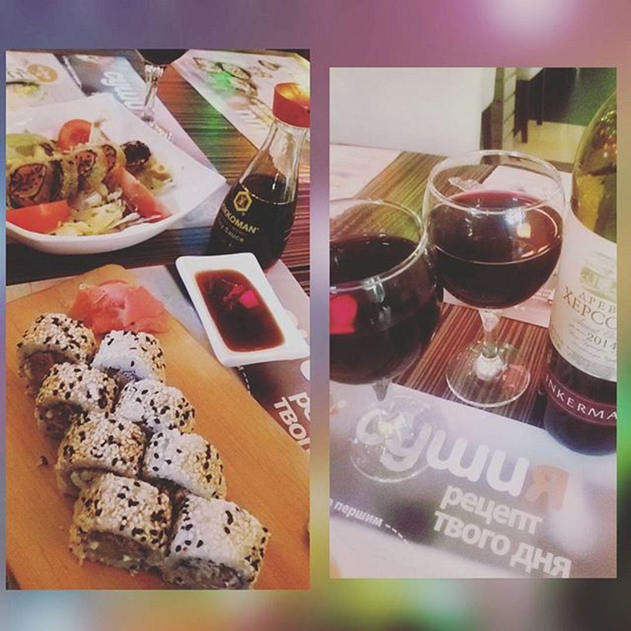 With mam 😎 Sushi Sushia Instalike Instafood 🍱🍲🍜🍣