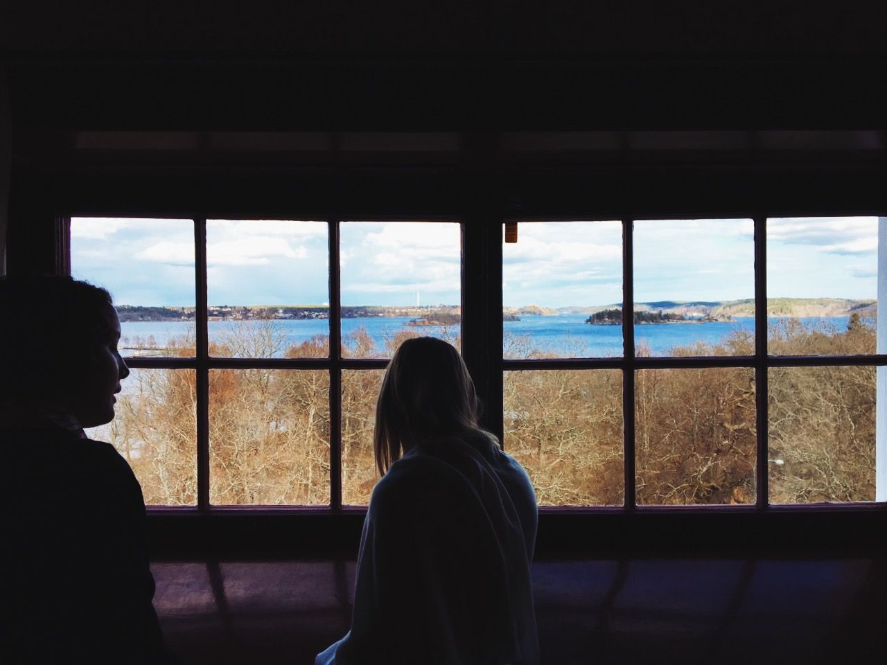 window, indoors, real people, rear view, looking through window, two people, lifestyles, leisure activity, day, women, nature, sky, standing, men, architecture