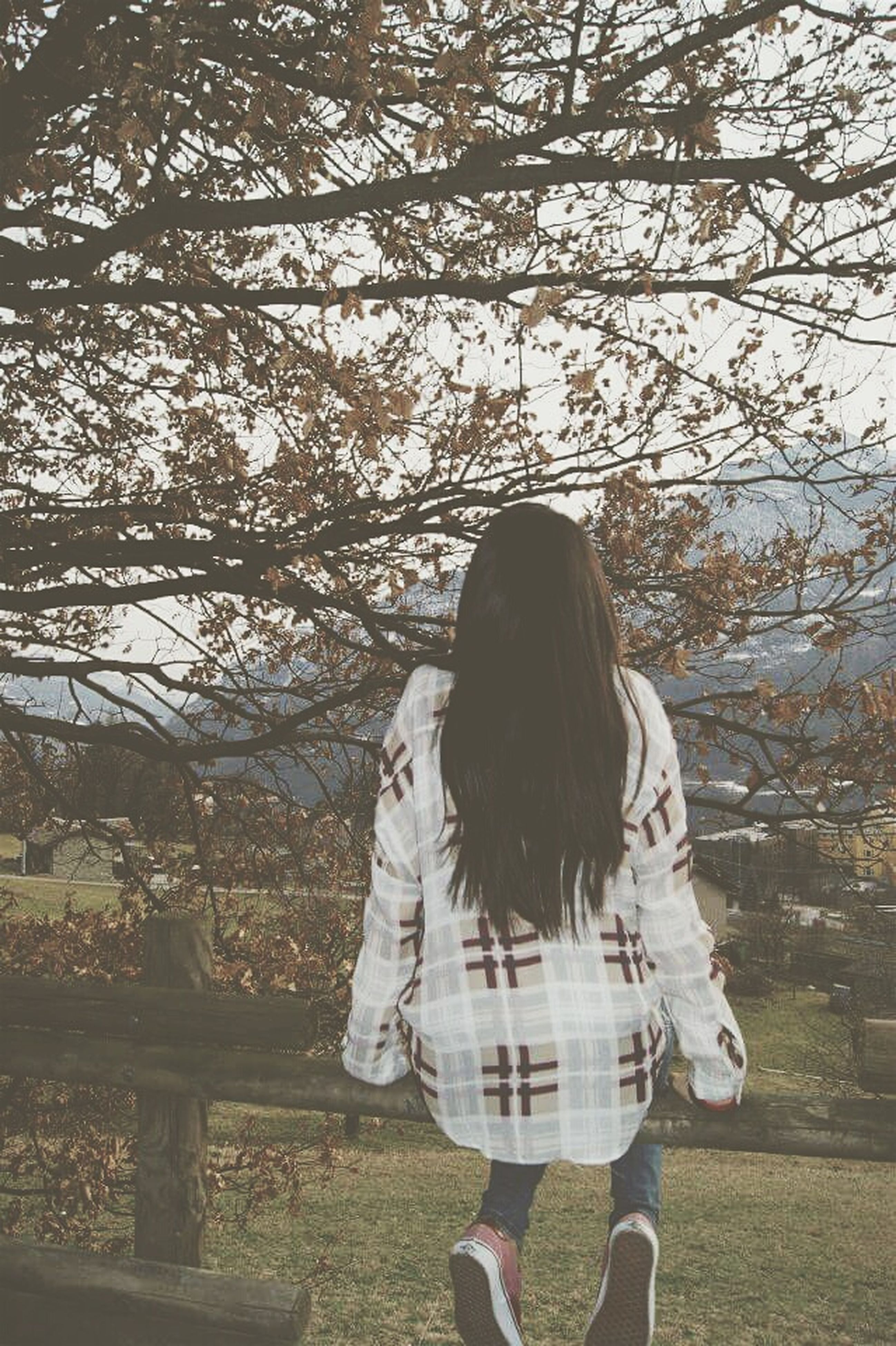 tree, rear view, lifestyles, leisure activity, casual clothing, full length, standing, long hair, person, three quarter length, girls, waist up, young women, nature, childhood, park - man made space, branch