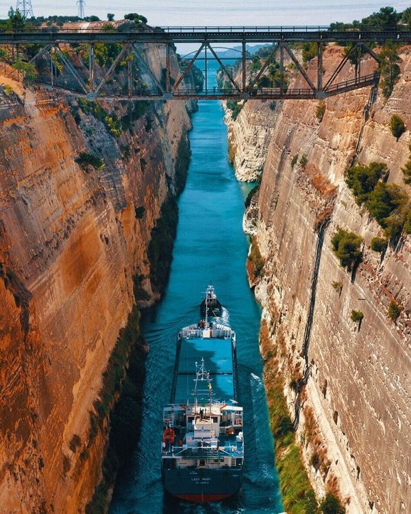Corinth Canal Korinthos Greece Ship Boat River Traveling Iamonmywaytoeverywhere High Angle View
