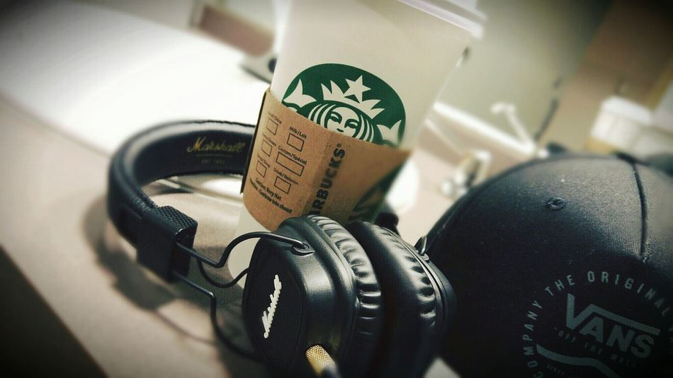 Sometimes, There are some things you can't live without. Morning Vans Off The Wall Vans Collection Marshall Headphones Music Coffee Starbucks Coffee White Mocha EyeEmNewHere