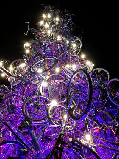 Coloured Christmas tree built of bicycles at tollwood winter Festival Munich Celebration Illuminated No People Night Christmas Outdoors Munich Tollwood Celebration Event Bicycles Art Installation Adam Stubley Advent December