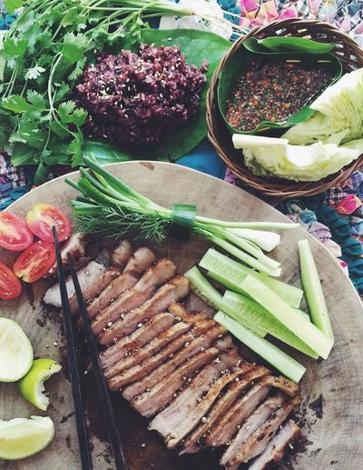 Thai Food Roastbeef Grilled Sticky Rice Vegetables