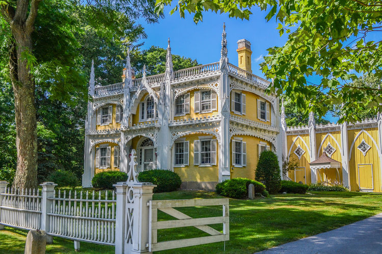 Kennebunkport Maine Wedding Cake House Arch Architecture Building Exterior Built Structure Clear Sky Day Grass No People Outdoors Sky Travel Destinations Tree Victorian Architecture