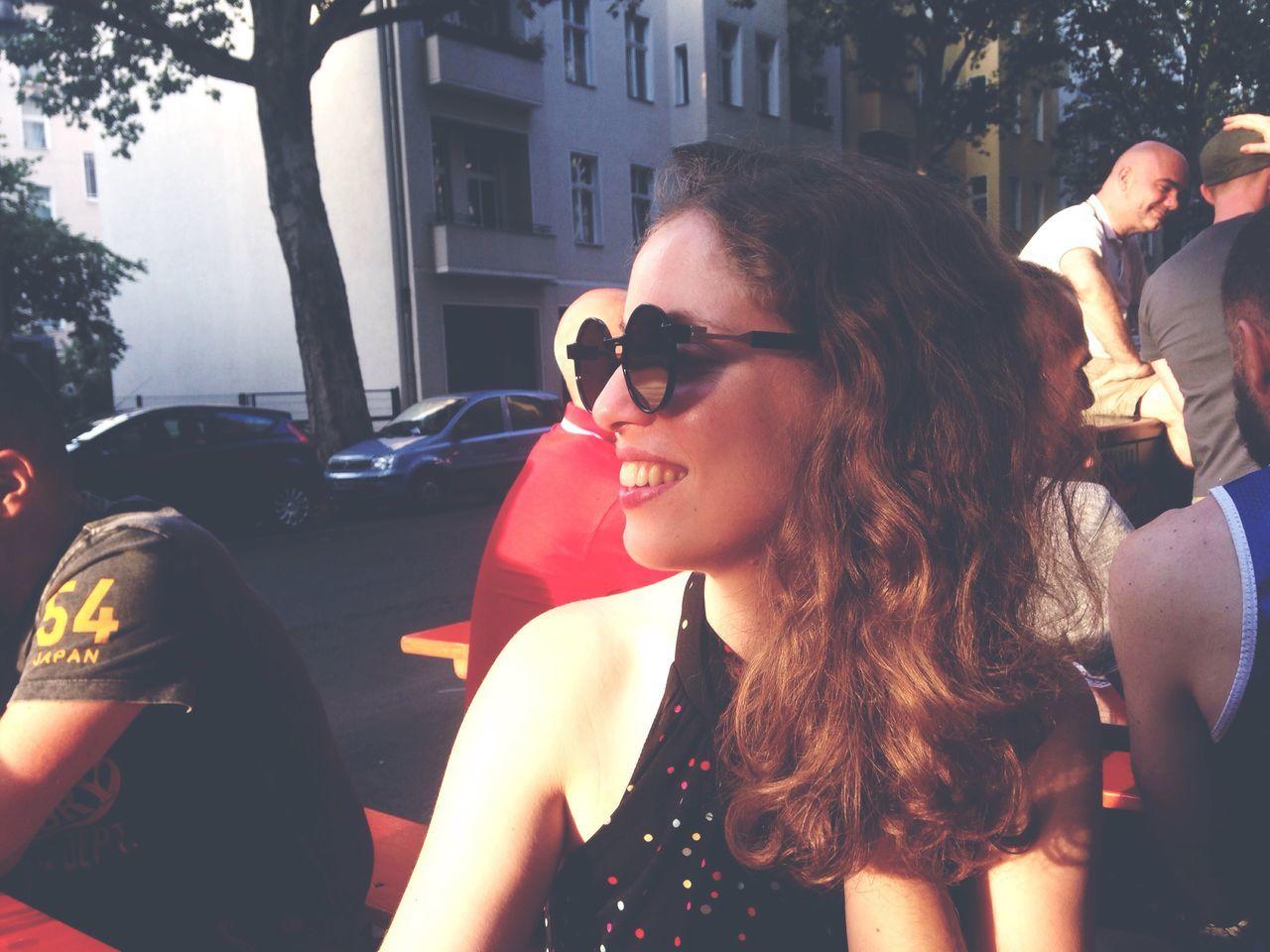 Girl Hanging Out Taking Photos Bar Drink Smile Sunset