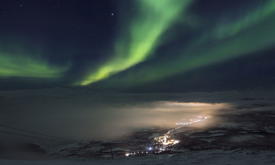 Astronomy Aurora Polaris Fog Foggy From Above  Galaxy Green Lake Landscape Lappland Milky Way Mountain Natural Phenomenon Night Night Lights Night Photography Nightphotography Norhtern Lights Polar Climate Sky Snow Space Space And Astronomy Sweden Winter