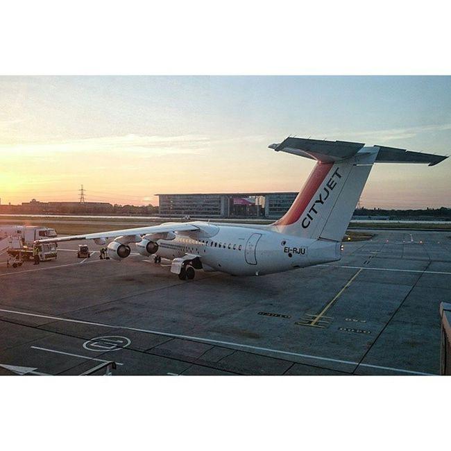 My baby jumboliner 💜✈ Cityjet Avroliner RJ85 London londoncity sunset