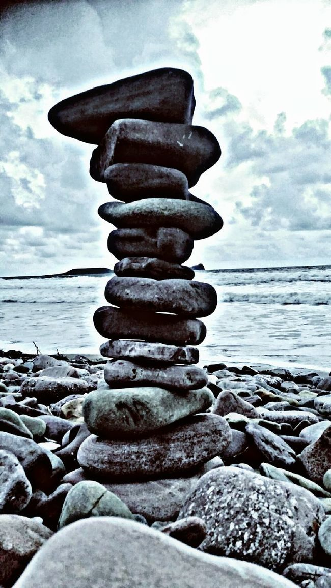 Llangennith Beach Stack Pebble Balance Horizon Over Water Beach Sea Stone - Object Wave Pebbles On A Beach Gower Peninsular South Wales Gower Coast Gowerpeninsula On The Beach