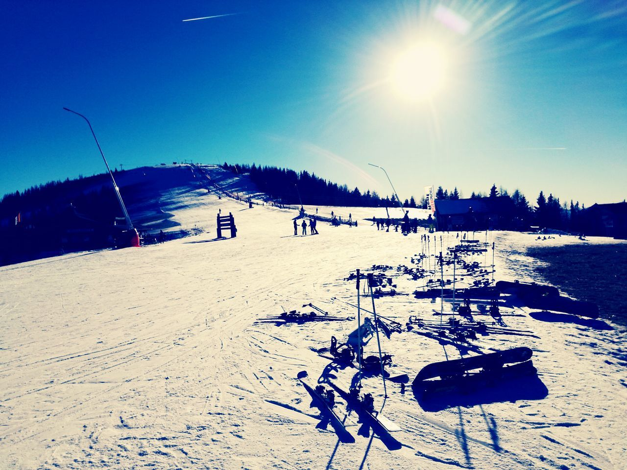 Snow Sports Sunlight Nature Outdoors Leisure Activity Clear Sky Sky Relax Time  Winter Lonely Objects Ski skiing skiing equipment