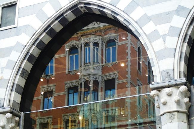 Another reflection Architecture Built Structure Building Exterior Arch Window Low Angle View Balcony History Day Arched No People Outdoors City Life Arcade Medieval Architectural Feature Fresco Old Town Open Edit Eye4photography  EyeEm Best Shots Fresh 3 Reflection_collection Reflection Creativity