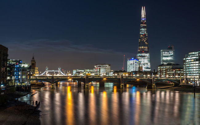 Looking East from the Millenium Bridge Architecture Bridge Cityscape Eye4photography  Illuminated London Long Exposure River Thames The Shard By Night The Shard, London Water Reflections