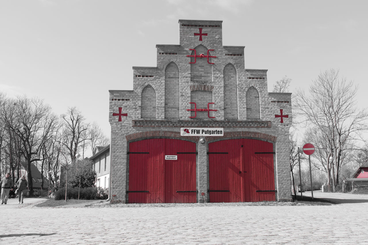 Architecture Building Exterior Built Structure Day Feuerwehr Firedepartment No People Red Tree