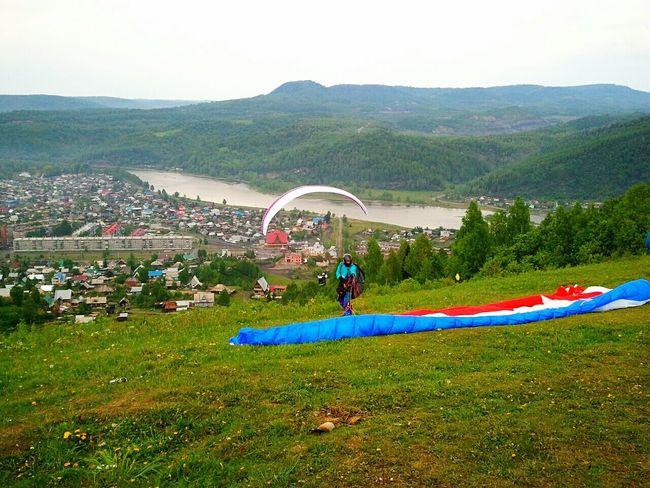 Russia Mejdurechensk Summer Sky Paraplane Day
